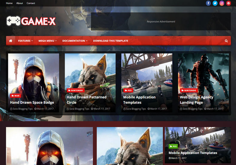 Game-X Blogger Template is a gaming friendly blogspot theme with great and outstanding features.