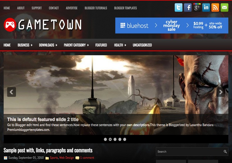 GameTown Dark Blogger Template. Blogger Themes. Free Blogspot templates for your blogger blog. Best suitable for news blog templates. Ads ready blogspot templates help for add adsense ad code and easily showing adsence ads in your blog. Adapted from WordPress templates are converted from WordPress themes. It is help for take your rich. Blogger magazine template specially designed for magazine blogs. The writers can utilize this themes for take blog attractive to users. Elegant themes are more used themes in most of the blogs. Use minimalist blog templates for rich look for your blog. Free premium blogger themes means, themes authors release two types of themes. One is premium another one is free. Premium templates given for cost but free themes given for no cost. You no need pay From California, USA. $10 USD, or $20 USD and more. But premium buyers get more facilities from authors But free buyers. If you run game or other animation oriented blogs, and you can try with Anime blog templates. Today the world is fashion world. So girls involve to the criteria for make their life fashionable. So we provide fashion blogger themes for make your fashionable. News is most important concept of the world. Download news blogger templates for publishing online news. You can make your blog as online shopping store. Get Online shopping store blogger template to sell your product. Navigation is most important to users find correct place. Download drop down menu, page navigation menu, breadcrumb navigation menu and vertical dropdown menu blogspot themes for free. Google Guide to blogging tips and tricks for bloggers. Google bloggers can get blogspot trick and tips for bloggers. Blog templates portfolio professional blogspot themes, You can store your life moments with your blogs with personal pages templates. Video and movie blogs owners get amazing movie blog themes for their blogs. Business templates download. We publish blogger themes for photographers. Photographers easily share photos via photography blog themes. St valentine Christmas Halloween templates. Download Slideshow slider templates for free. Under construction coming soon custom blogspot template. Best beautiful high quality Custom layouts Blog templates from templateism, SoraTemplates, templatetrackers, simple, cute free premium professional unique designs blog themes blogspot themes. Seo ready portfolio anime fashion movie movies health custom layouts best download blogspot themes simple cute free premium professional unique designs xml html code html5.