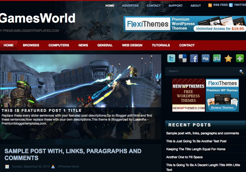 Games World Blogger Template 2014 Free Download