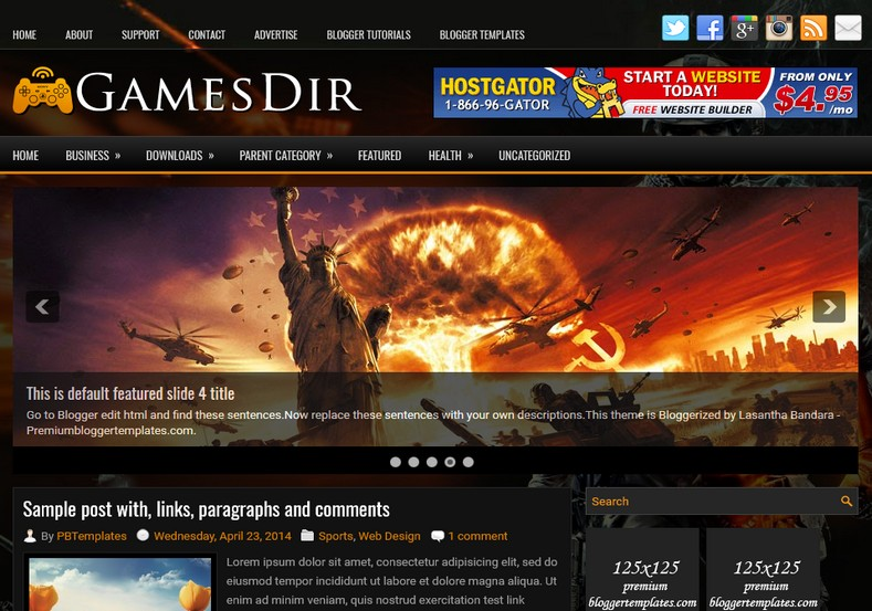 GamesDir Dark Blogger Template. Blogger Themes. Free Blogspot templates for your blogger blog. Best suitable for news blog templates. Ads ready blogspot templates help for add adsense ad code and easily showing adsence ads in your blog. Adapted from WordPress templates are converted from WordPress themes. It is help for take your rich. Blogger magazine template specially designed for magazine blogs. The writers can utilize this themes for take blog attractive to users. Elegant themes are more used themes in most of the blogs. Use minimalist blog templates for rich look for your blog. Free premium blogger themes means, themes authors release two types of themes. One is premium another one is free. Premium templates given for cost but free themes given for no cost. You no need pay From California, USA. $10 USD, or $20 USD and more. But premium buyers get more facilities from authors But free buyers. If you run game or other animation oriented blogs, and you can try with Anime blog templates. Today the world is fashion world. So girls involve to the criteria for make their life fashionable. So we provide fashion blogger themes for make your fashionable. News is most important concept of the world. Download news blogger templates for publishing online news. You can make your blog as online shopping store. Get Online shopping store blogger template to sell your product. Navigation is most important to users find correct place. Download drop down menu, page navigation menu, breadcrumb navigation menu and vertical dropdown menu blogspot themes for free. Google Guide. Blogging tips and Tricks for bloggers. Google bloggers can get blogspot trick and tips for bloggers. Blog templates portfolio professional blogspot themes, You can store your life moments with your blogs with personal pages templates. Video and movie blogs owners get amazing movie blog themes for their blogs. Business templates download. We publish blogger themes for photographers. Photographers easily share p