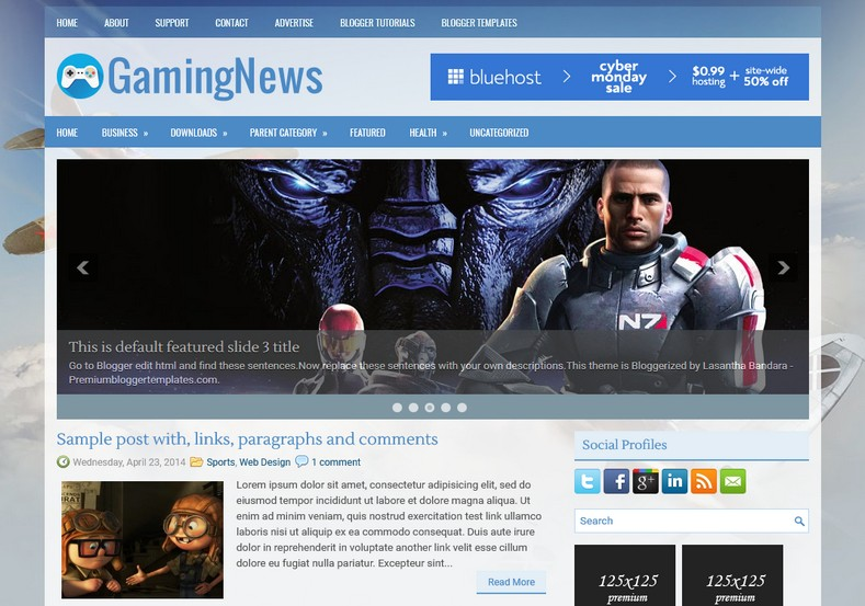 GamingNews Blue Blogger Template. Blogger Themes. Free Blogspot templates for your blogger blog. Best suitable for news blog templates. Ads ready blogspot templates help for add adsense ad code and easily showing adsence ads in your blog. Adapted from WordPress templates are converted from WordPress themes. It is help for take your rich. Blogger magazine template specially designed for magazine blogs. The writers can utilize this themes for take blog attractive to users. Elegant themes are more used themes in most of the blogs. Use minimalist blog templates for rich look for your blog. Free premium blogger themes means, themes authors release two types of themes. One is premium another one is free. Premium templates given for cost but free themes given for no cost. You no need pay From California, USA. $10 USD, or $20 USD and more. But premium buyers get more facilities from authors But free buyers. If you run game or other animation oriented blogs, and you can try with Anime blog templates. Today the world is fashion world. So girls involve to the criteria for make their life fashionable. So we provide fashion blogger themes for make your fashionable. News is most important concept of the world. Download news blogger templates for publishing online news. You can make your blog as online shopping store. Get Online shopping store blogger template to sell your product. Navigation is most important to users find correct place. Download drop down menu, page navigation menu, breadcrumb navigation menu and vertical dropdown menu blogspot themes for free. Google Guide to blogging tips and tricks for bloggers. Google bloggers can get blogspot trick and tips for bloggers. Blog templates portfolio professional blogspot themes, You can store your life moments with your blogs with personal pages templates. Video and movie blogs owners get amazing movie blog themes for their blogs. Business templates download. We publish blogger themes for photographers. Photographers easily share photos via photography blog themes. St valentine Christmas Halloween templates. Download Slideshow slider templates for free. Under construction coming soon custom blogspot template. Best beautiful high quality Custom layouts Blog templates from templateism, SoraTemplates, templatetrackers, simple, cute free premium professional unique designs blog themes blogspot themes. Seo ready portfolio anime fashion movie movies health custom layouts best download blogspot themes simple cute free premium professional unique designs xml html code html5.