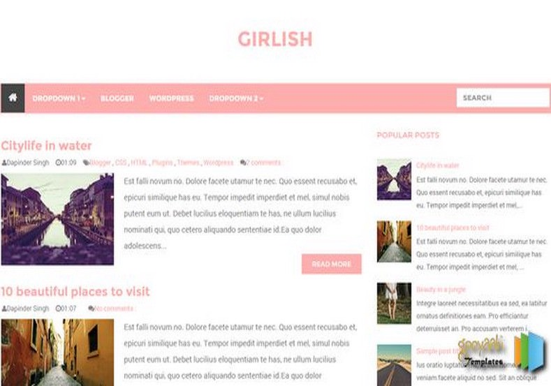 Girlish Blogger Template 2015 free blogger templates