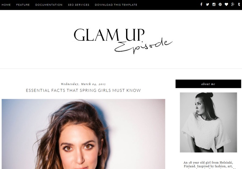 Glam Up Blogger Template. Blogger Themes. Free Blogspot templates for your blogger blog. Best suitable for news blog templates. Best Ads ready blogspot templates help for add adsense ad code and easily showing adsence ads in your blog. Adapted from WordPress templates are converted from WordPress themes. It is help for take your rich. Blogger magazine template specially designed for magazine blogs. The writers can utilize this themes for take blog attractive to users. Elegant themes are more used themes in most of the blogs. Use minimalist blog templates for rich look for your blog. Free premium blogger themes means, themes authors release two types of themes. One is premium another one is free. Premium templates given for cost but free themes given for no cost. You no need pay From California, USA. $10 USD, or $20 USD and more. But premium buyers get more facilities from authors But free buyers. If you run game or other animation oriented blogs, and you can try with Anime blog templates. Today the world is fashion world. So girls involve to the criteria for make their life fashionable. So we provide fashion blogger themes for make your fashionable. News is most important concept of the world. Download news blogger templates for publishing online news. You can make your blog as online shopping store. Get Online shopping store blogger template to sell your product. Navigation is most important to users find correct place. Download drop down menu, page navigation menu, breadcrumb navigation menu and vertical dropdown menu blogspot themes for free. Google Guide to blogging tips and tricks for bloggers. Google bloggers can get blogspot trick and tips for bloggers. Blog templates portfolio professional blogspot themes, You can store your life moments with your blogs with personal pages templates. Video and movie blogs owners get amazing movie blog themes for their blogs. Business templates download. We publish blogger themes for photographers. Photographers easily share photos via photography blog themes. St valentine Christmas Halloween templates. Download Slideshow slider templates for free. Under construction coming soon custom blogspot template. Best beautiful high quality Custom layouts Blog templates from templateism, soratemplates, templatetrackers, simple, cute free premium professional unique designs blog themes blogspot themes. Seo ready portfolio anime fashion movie movies health custom layouts best download blogspot themes simple cute free premium professional unique designs xml html code html5. Glam Up Blogger Template
