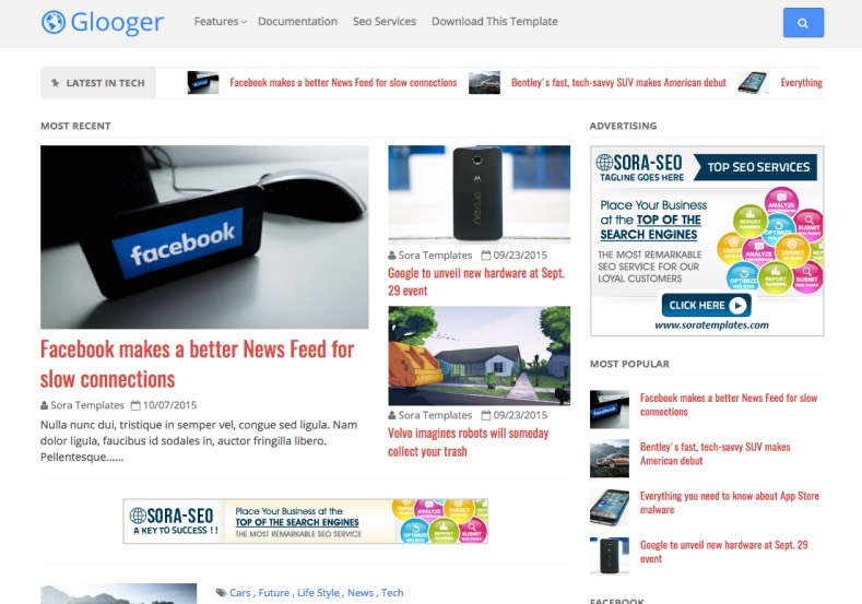 Glooger Responsive Blogger Template. Blogger Themes. Free Blogspot templates for your blogger blog. Best suitable for news blog templates. Best Ads ready blogspot templates help for add adsense ad code and easily showing adsence ads in your blog. Adapted from WordPress templates are converted from WordPress themes. It is help for take your rich. Blogger magazine template specially designed for magazine blogs. The writers can utilize this themes for take blog attractive to users. Elegant themes are more used themes in most of the blogs. Use minimalist blog templates for rich look for your blog. Free premium blogger themes means, themes authors release two types of themes. One is premium another one is free. Premium templates given for cost but free themes given for no cost. You no need pay From California, USA. $10 USD, or $20 USD and more. But premium buyers get more facilities from authors But free buyers. If you run game or other animation oriented blogs, and you can try with Anime blog templates. Today the world is fashion world. So girls involve to the criteria for make their life fashionable. So we provide fashion blogger themes for make your fashionable. News is most important concept of the world. Download news blogger templates for publishing online news. You can make your blog as online shopping store. Get Online shopping store blogger template to sell your product. Navigation is most important to users find correct place. Download drop down menu, page navigation menu, breadcrumb navigation menu and vertical dropdown menu blogspot themes for free. Google Guide to blogging tips and tricks for bloggers. Google bloggers can get blogspot trick and tips for bloggers. Blog templates portfolio professional blogspot themes, You can store your life moments with your blogs with personal pages templates. Video and movie blogs owners get amazing movie blog themes for their blogs. Business templates download. We publish blogger themes for photographers. Photographers easily share photos via photography blog themes. St valentine Christmas Halloween templates. Download Slideshow slider templates for free. Under construction coming soon custom blogspot template. Best beautiful high quality Custom layouts Blog templates from templateism, SoraTemplates, templatetrackers, simple, cute free premium professional unique designs blog themes blogspot themes. Seo ready portfolio anime fashion movie movies health custom layouts best download blogspot themes simple cute free premium professional unique designs xml html code html5.