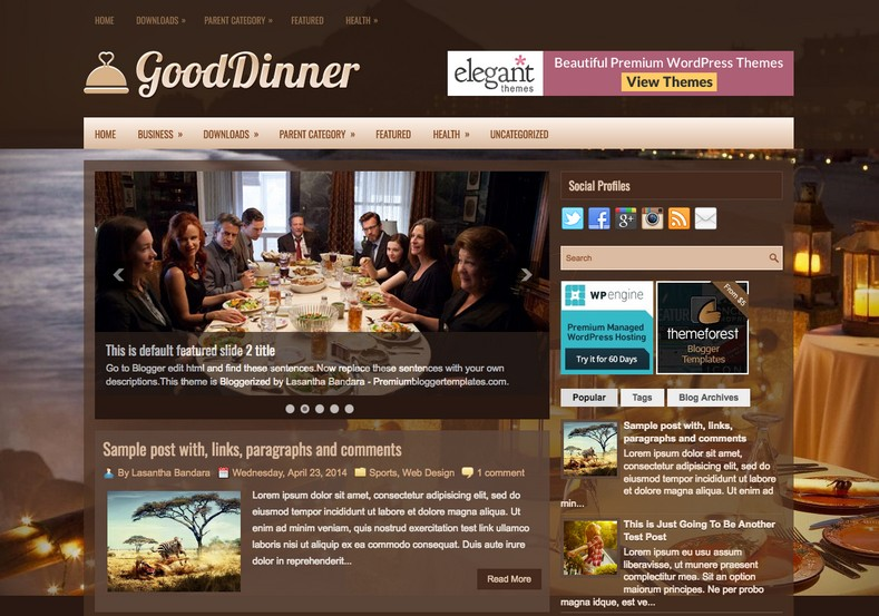 GoodDinner Dark Blogger Template. Blogger Themes. Free Blogspot templates for your blogger blog. Best suitable for news blog templates. Best Ads ready blogspot templates help for add adsense ad code and easily showing adsence ads in your blog. Adapted from WordPress templates are converted from WordPress themes. It is help for take your rich. Blogger magazine template specially designed for magazine blogs. The writers can utilize this themes for take blog attractive to users. Elegant themes are more used themes in most of the blogs. Use minimalist blog templates for rich look for your blog. Free premium blogger themes means, themes authors release two types of themes. One is premium another one is free. Premium templates given for cost but free themes given for no cost. You no need pay From California, USA. $10 USD, or $20 USD and more. But premium buyers get more facilities from authors But free buyers. If you run game or other animation oriented blogs, and you can try with Anime blog templates. Today the world is fashion world. So girls involve to the criteria for make their life fashionable. So we provide fashion blogger themes for make your fashionable. News is most important concept of the world. Download news blogger templates for publishing online news. You can make your blog as online shopping store. Get Online shopping store blogger template to sell your product. Navigation is most important to users find correct place. Download drop down menu, page navigation menu, breadcrumb navigation menu and vertical dropdown menu blogspot themes for free. Google Guide to blogging tips and tricks for bloggers. Google bloggers can get blogspot trick and tips for bloggers. Blog templates portfolio professional blogspot themes, You can store your life moments with your blogs with personal pages templates. Video and movie blogs owners get amazing movie blog themes for their blogs. Business templates download. We publish blogger themes for photographers. Photographers easil