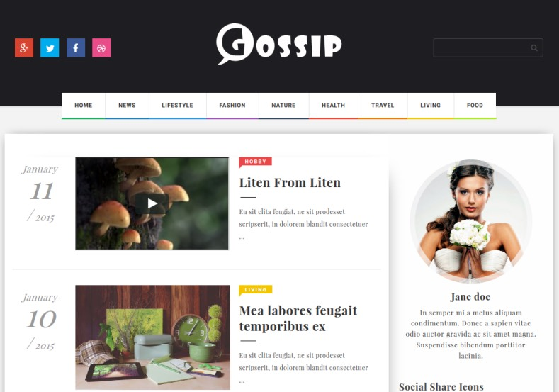 Gossip Responsive Blogger Template. Blogger Themes. Free Blogspot templates for your blogger blog. Best suitable for news blog templates. Ads ready blogspot templates help for add adsense ad code and easily showing adsence ads in your blog. Adapted from WordPress templates are converted from WordPress themes. It is help for take your rich. Blogger magazine template specially designed for magazine blogs. The writers can utilize this themes for take blog attractive to users. Elegant themes are more used themes in most of the blogs. Minimalist blog templates. Free premium blogger themes means, themes authors release two types of themes. One is premium another one is free. Premium templates given for cost but free themes given for no cost. You no need pay From California, USA. $10 USD, or $20 USD and more. But premium buyers get more facilities from authors But free buyers. If you run game or other animation oriented blogs, and you can try with Anime blog templates. Today the world is fashion world. So girls involve to the criteria for make their life fashionable. So we provide fashion blogger themes for make your fashionable. News is most important concept of the world. Download news blogger templates for publishing online news. You can make your blog as online shopping store. Get Online shopping store blogger template to sell your product. Navigation is most important to users find correct place. Download drop down menu, page navigation menu, breadcrumb navigation menu and vertical dropdown menu blogspot themes for free. Google Guide. Blogging tips and Tricks for bloggers. Google bloggers can get blogspot trick and tips for bloggers. Blog templates portfolio professional blogspot themes, You can store your life moments with your blogs with personal pages templates. Video and movie blogs owners get amazing movie blog themes for their blogs. Business templates download. We publish blogger themes for photographers. Photographers easily share photos via photography blog themes. St valentine Christmas Halloween templates. Download Slideshow slider templates for free. Under construction coming soon custom blogspot template. Best beautiful high quality Custom layouts Blog templates from templateism, soratemplates, templatetrackers, simple, cute free premium professional unique designs blog themes blogspot themes. Seo ready portfolio anime fashion movie movies health custom layouts best download blogspot themes simple cute free premium professional unique designs xml html code html5.