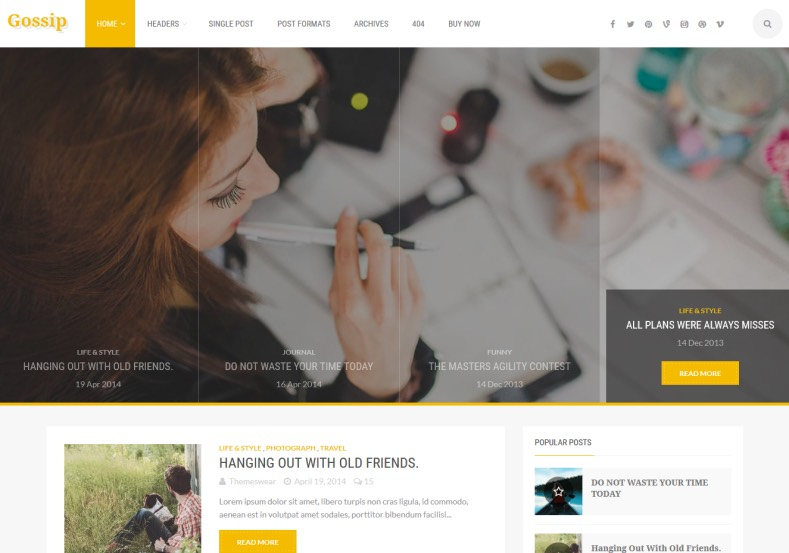 Gossip Magazine Blogger Template designed by themeswear. Magazine blogger template comes with yellow colored design looks likes very high quality. Your blogger blog has bees promoted to next top level. Get Gossip Magazine Blogger Template.