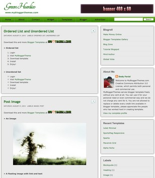 Green Hurdico Blogger Templates