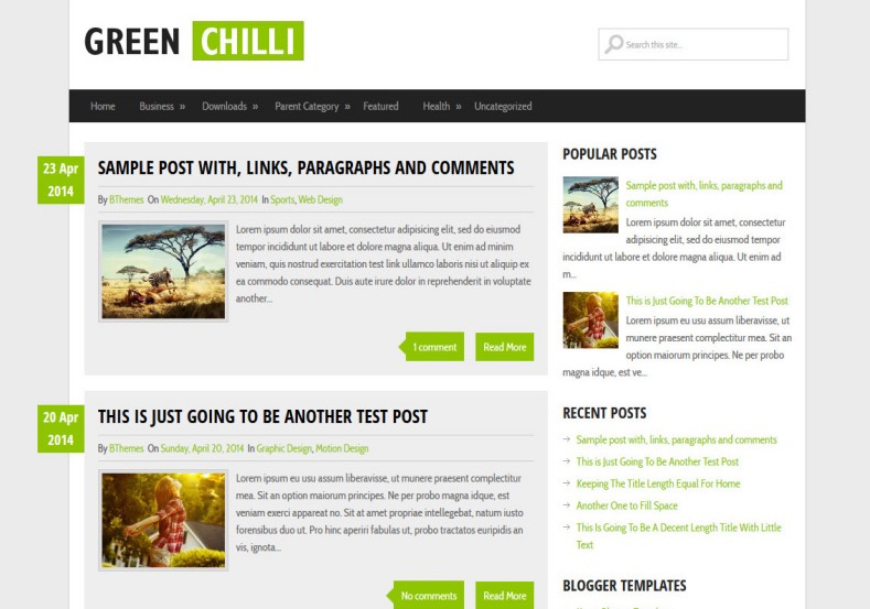 GreenChilli Blogger Template. Blogger Themes. Best suitable for news blog templates. Ads ready blogspot templates help for add adsense ad code and easily showing adsence ads in your blog. Adapted from WordPress templates are converted from WordPress themes. It is help for take your rich. Blogger magazine template specially designed for magazine blogs. The writers can utilize this themes for take blog attractive to users. Elegant themes are more used themes in most of the blogs. Minimalist blog templates. Free premium blogger themes means, themes authors release two types of themes. One is premium another one is free. Premium templates given for cost but free themes given for no cost. You no need pay From California, USA. $10 USD, or $20 USD and more. But premium buyers get more facilities from authors But free buyers. If you run game or other animation oriented blogs, and you can try with Anime blog templates. Today the world is fashion world. So girls involve to the criteria for make their life fashionable. So we provide fashion blogger themes for make your fashionable. News is most important concept of the world. Download news blogger templates for publishing online news. You can make your blog as online shopping store. Get Online shopping store blogger template to sell your product. Navigation is most important to users find correct place. Download drop down menu, page navigation menu, breadcrumb navigation menu and vertical dropdown menu blogspot themes for free. Google Guide. Blogging tips and Tricks for bloggers. Google bloggers can get blogspot trick and tips for bloggers. Blog templates portfolio professional blogspot themes, You can store your life moments with your blogs with personal pages templates. Video and movie blogs owners get amazing movie blog themes for their blogs. Business templates download. We publish blogger themes for photographers. Photographers easily share photos via photography blog themes. St valentine Christmas Halloween templates. Download Slideshow slider templates for free. Under construction coming soon custom blogspot template. Best beautiful high quality Custom layouts Blog templates from templateism, SoraTemplates, templatetrackers, simple, cute free premium professional unique designs blog themes blogspot themes. Seo ready portfolio anime fashion movie movies health custom layouts best download blogspot themes simple cute free premium professional unique designs xml html code html5.