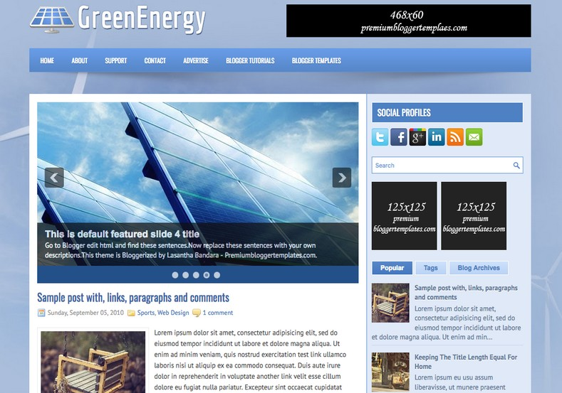 GreenEnergy Blu Blogger Template • Blogspot Templates 2018