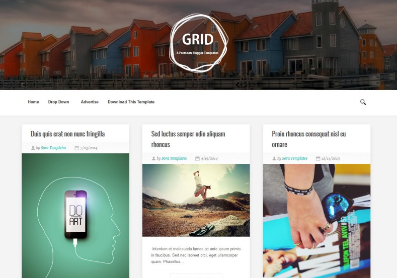 Grid Blogger Template responsive minimalist from sora