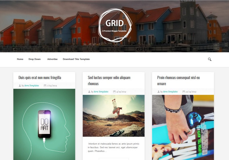 Grid Blogger Template responsive minialist from sora