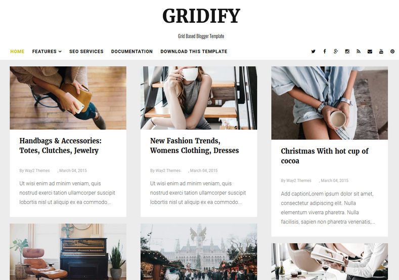 Gridify Responsive Blogger Template is grid based responsive blogspot theme with very fast loading speed and whatsapp sharing features