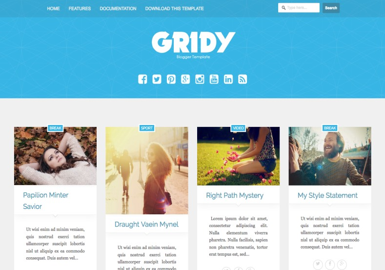 Gridy Gallery Blogger Template. Blogger Themes. Free Blogspot templates for your blogger blog. Best suitable for news blog templates. Best Ads ready blogspot templates help for add adsense ad code and easily showing adsence ads in your blog. Adapted from WordPress templates are converted from WordPress themes. It is help for take your rich. Blogger magazine template specially designed for magazine blogs. The writers can utilize this themes for take blog attractive to users. Elegant themes are more used themes in most of the blogs. Use minimalist blog templates for rich look for your blog. Free premium blogger themes means, themes authors release two types of themes. One is premium another one is free. Premium templates given for cost but free themes given for no cost. You no need pay From California, USA. $10 USD, or $20 USD and more. But premium buyers get more facilities from authors But free buyers. If you run game or other animation oriented blogs, and you can try with Anime blog templates. Today the world is fashion world. So girls involve to the criteria for make their life fashionable. So we provide fashion blogger themes for make your fashionable. News is most important concept of the world. Download news blogger templates for publishing online news. You can make your blog as online shopping store. Get Online shopping store blogger template to sell your product. Navigation is most important to users find correct place. Download drop down menu, page navigation menu, breadcrumb navigation menu and vertical dropdown menu blogspot themes for free. Google Guide to blogging tips and tricks for bloggers. Google bloggers can get blogspot trick and tips for bloggers. Blog templates portfolio professional blogspot themes, You can store your life moments with your blogs with personal pages templates. Video and movie blogs owners get amazing movie blog themes for their blogs. Business templates download. We publish blogger themes for photographers. Photographers easily share photos via photography blog themes. St valentine Christmas Halloween templates. Download Slideshow slider templates for free. Under construction coming soon custom blogspot template. Best beautiful high quality Custom layouts Blog templates from templateism, SoraTemplates, templatetrackers, simple, cute free premium professional unique designs blog themes blogspot themes. Seo ready portfolio anime fashion movie movies health custom layouts best download blogspot themes simple cute free premium professional unique designs xml html code html5.