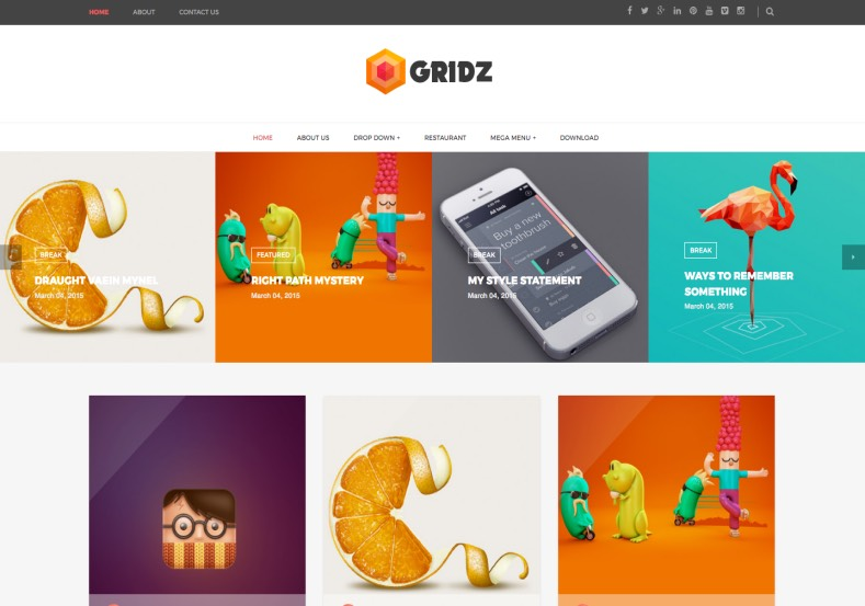 Gridz Responsive Blogger Template. Blogger Themes. Free Blogspot templates for your blogger blog. Best suitable for news blog templates. Best Ads ready blogspot templates help for add adsense ad code and easily showing adsence ads in your blog. Adapted from WordPress templates are converted from WordPress themes. It is help for take your rich. Blogger magazine template specially designed for magazine blogs. The writers can utilize this themes for take blog attractive to users. Elegant themes are more used themes in most of the blogs. Use minimalist blog templates for rich look for your blog. Free premium blogger themes means, themes authors release two types of themes. One is premium another one is free. Premium templates given for cost but free themes given for no cost. You no need pay From California, USA. $10 USD, or $20 USD and more. But premium buyers get more facilities from authors But free buyers. If you run game or other animation oriented blogs, and you can try with Anime blog templates. Today the world is fashion world. So girls involve to the criteria for make their life fashionable. So we provide fashion blogger themes for make your fashionable. News is most important concept of the world. Download news blogger templates for publishing online news. You can make your blog as online shopping store. Get Online shopping store blogger template to sell your product. Navigation is most important to users find correct place. Download drop down menu, page navigation menu, breadcrumb navigation menu and vertical dropdown menu blogspot themes for free. Google Guide to blogging tips and tricks for bloggers. Google bloggers can get blogspot trick and tips for bloggers. Blog templates portfolio professional blogspot themes, You can store your life moments with your blogs with personal pages templates. Video and movie blogs owners get amazing movie blog themes for their blogs. Business templates download. We publish blogger themes for photographers. Photographers easily share photos via photography blog themes. St valentine Christmas Halloween templates. Download Slideshow slider templates for free. Under construction coming soon custom blogspot template. Best beautiful high quality Custom layouts Blog templates from templateism, SoraTemplates, templatetrackers, simple, cute free premium professional unique designs blog themes blogspot themes. Seo ready portfolio anime fashion movie movies health custom layouts best download blogspot themes simple cute free premium professional unique designs xml html code html5. Gridz Responsive Blogger Template