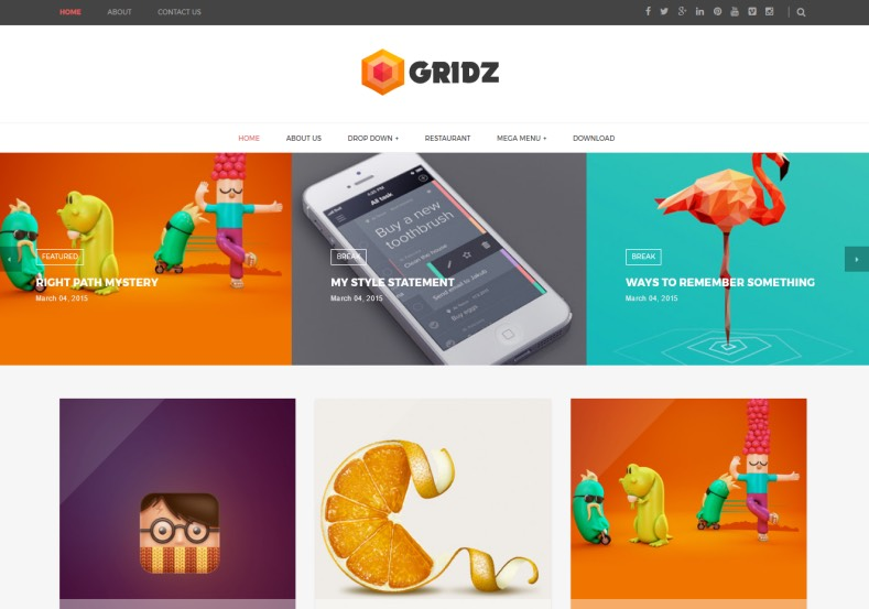 Gridz Responsive Blogger Template. Blogger Themes. Free Blogspot templates for your blogger blog. Best suitable for news blog templates. Best Ads ready blogspot templates help for add adsense ad code and easily showing adsence ads in your blog. Adapted from WordPress templates are converted from WordPress themes. It is help for take your rich. Blogger magazine template specially designed for magazine blogs. The writers can utilize this themes for take blog attractive to users. Elegant themes are more used themes in most of the blogs. Use minimalist blog templates for rich look for your blog. Free premium blogger themes means, themes authors release two types of themes. One is premium another one is free. Premium templates given for cost but free themes given for no cost. You no need pay From California, USA. $10 USD, or $20 USD and more. But premium buyers get more facilities from authors But free buyers. If you run game or other animation oriented blogs, and you can try with Anime blog templates. Today the world is fashion world. So girls involve to the criteria for make their life fashionable. So we provide fashion blogger themes for make your fashionable. News is most important concept of the world. Download news blogger templates for publishing online news. You can make your blog as online shopping store. Get Online shopping store blogger template to sell your product. Navigation is most important to users find correct place. Download drop down menu, page navigation menu, breadcrumb navigation menu and vertical dropdown menu blogspot themes for free. Google Guide to blogging tips and tricks for bloggers. Google bloggers can get blogspot trick and tips for bloggers. Blog templates portfolio professional blogspot themes, You can store your life moments with your blogs with personal pages templates. Video and movie blogs owners get amazing movie blog themes for their blogs. Business templates download. We publish blogger themes for photographers. Photographers easi
