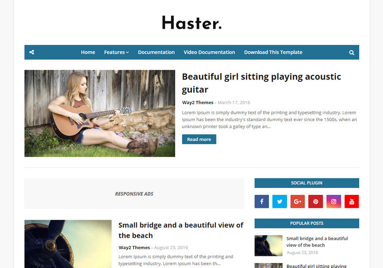 Haster Blogger Template is clean and elegant simple responsive blogger theme with highly optimized design which loads fast and looks professional
