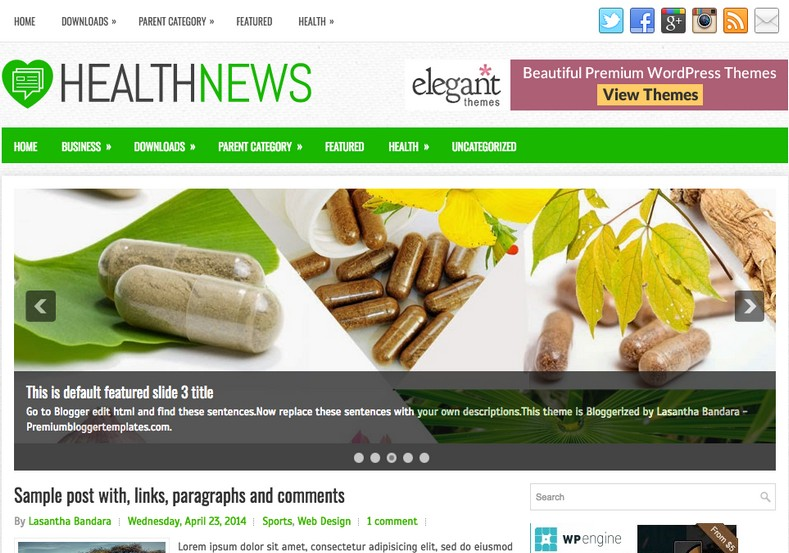 HealthNews Blogger Template. Blogger Themes. Free Blogspot templates for your blogger blog. Best suitable for news blog templates. Best Ads ready blogspot templates help for add adsense ad code and easily showing adsence ads in your blog. Adapted from WordPress templates are converted from WordPress themes. It is help for take your rich. Blogger magazine template specially designed for magazine blogs. The writers can utilize this themes for take blog attractive to users. Elegant themes are more used themes in most of the blogs. Use minimalist blog templates for rich look for your blog. Free premium blogger themes means, themes authors release two types of themes. One is premium another one is free. Premium templates given for cost but free themes given for no cost. You no need pay From California, USA. $10 USD, or $20 USD and more. But premium buyers get more facilities from authors But free buyers. If you run game or other animation oriented blogs, and you can try with Anime blog templates. Today the world is fashion world. So girls involve to the criteria for make their life fashionable. So we provide fashion blogger themes for make your fashionable. News is most important concept of the world. Download news blogger templates for publishing online news. You can make your blog as online shopping store. Get Online shopping store blogger template to sell your product. Navigation is most important to users find correct place. Download drop down menu, page navigation menu, breadcrumb navigation menu and vertical dropdown menu blogspot themes for free. Google Guide to blogging tips and tricks for bloggers. Google bloggers can get blogspot trick and tips for bloggers. Blog templates portfolio professional blogspot themes, You can store your life moments with your blogs with personal pages templates. Video and movie blogs owners get amazing movie blog themes for their blogs. Business templates download. We publish blogger themes for photographers. Photographers easily share photos via photography blog themes. St valentine Christmas Halloween templates. Download Slideshow slider templates for free. Under construction coming soon custom blogspot template. Best beautiful high quality Custom layouts Blog templates from templateism, SoraTemplates, templatetrackers, simple, cute free premium professional unique designs blog themes blogspot themes. Seo ready portfolio anime fashion movie movies health custom layouts best download blogspot themes simple cute free premium professional unique designs xml html code html5.