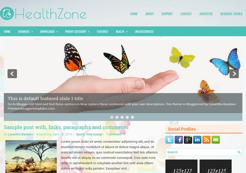 HealthZone Responsive Blogger Template. Blogger Themes. Free Blogspot templates for your blogger blog. Best suitable for news blog templates. Ads ready blogspot templates help for add adsense ad code and easily showing adsence ads in your blog. Adapted from WordPress templates are converted from WordPress themes. It is help for take your rich. Blogger magazine template specially designed for magazine blogs. The writers can utilize this themes for take blog attractive to users. Elegant themes are more used themes in most of the blogs. Use minimalist blog templates for rich look for your blog. Free premium blogger themes means, themes authors release two types of themes. One is premium another one is free. Premium templates given for cost but free themes given for no cost. You no need pay From California, USA. $10 USD, or $20 USD and more. But premium buyers get more facilities from authors But free buyers. If you run game or other animation oriented blogs, and you can try with Anime blog templates. Today the world is fashion world. So girls involve to the criteria for make their life fashionable. So we provide fashion blogger themes for make your fashionable. News is most important concept of the world. Download news blogger templates for publishing online news. You can make your blog as online shopping store. Get Online shopping store blogger template to sell your product. Navigation is most important to users find correct place. Download drop down menu, page navigation menu, breadcrumb navigation menu and vertical dropdown menu blogspot themes for free. Google Guide to blogging tips and tricks for bloggers. Google bloggers can get blogspot trick and tips for bloggers. Blog templates portfolio professional blogspot themes, You can store your life moments with your blogs with personal pages templates. Video and movie blogs owners get amazing movie blog themes for their blogs. Business templates download. We publish blogger themes for photographers. Photographers easily share photos via photography blog themes. St valentine Christmas Halloween templates. Download Slideshow slider templates for free. Under construction coming soon custom blogspot template. Best beautiful high quality Custom layouts Blog templates from templateism, soratemplates, templatetrackers, simple, cute free premium professional unique designs blog themes blogspot themes. Seo ready portfolio anime fashion movie movies health custom layouts best download blogspot themes simple cute free premium professional unique designs xml html code html5.