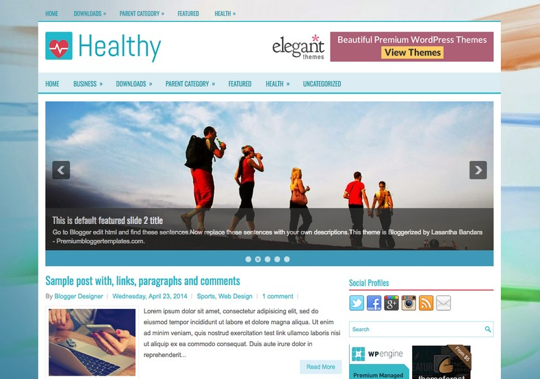 Healthy Responsive Blogger Template. Blogger Themes. Free Blogspot templates for your blogger blog. Best suitable for news blog templates. Ads ready blogspot templates help for add adsense ad code and easily showing adsence ads in your blog. Adapted from WordPress templates are converted from WordPress themes. It is help for take your rich. Blogger magazine template specially designed for magazine blogs. The writers can utilize this themes for take blog attractive to users. Elegant themes are more used themes in most of the blogs. Use minimalist blog templates for rich look for your blog. Free premium blogger themes means, themes authors release two types of themes. One is premium another one is free. Premium templates given for cost but free themes given for no cost. You no need pay From California, USA. $10 USD, or $20 USD and more. But premium buyers get more facilities from authors But free buyers. If you run game or other animation oriented blogs, and you can try with Anime blog templates. Today the world is fashion world. So girls involve to the criteria for make their life fashionable. So we provide fashion blogger themes for make your fashionable. News is most important concept of the world. Download news blogger templates for publishing online news. You can make your blog as online shopping store. Get Online shopping store blogger template to sell your product. Navigation is most important to users find correct place. Download drop down menu, page navigation menu, breadcrumb navigation menu and vertical dropdown menu blogspot themes for free. Google Guide to blogging tips and tricks for bloggers. Google bloggers can get blogspot trick and tips for bloggers. Blog templates portfolio professional blogspot themes, You can store your life moments with your blogs with personal pages templates. Video and movie blogs owners get amazing movie blog themes for their blogs. Business templates download. We publish blogger themes for photographers. Photographers easily share photos via photography blog themes. St valentine Christmas Halloween templates. Download Slideshow slider templates for free. Under construction coming soon custom blogspot template. Best beautiful high quality Custom layouts Blog templates from templateism, SoraTemplates, templatetrackers, simple, cute free premium professional unique designs blog themes blogspot themes. Seo ready portfolio anime fashion movie movies health custom layouts best download blogspot themes simple cute free premium professional unique designs xml html code html5.