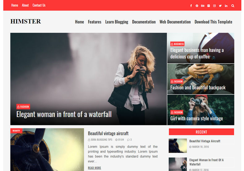 Himster Blogger Template is a fully reponsive and ultra stylish blogging blogspot theme with simple look and fast loading speed