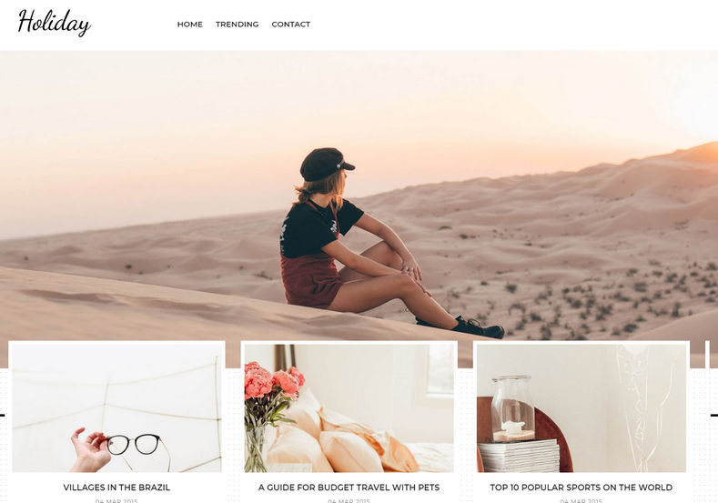 Holiday Blogger Template is a fabulous looking theme mainly designed for travel bloggers and Instagram influencers.