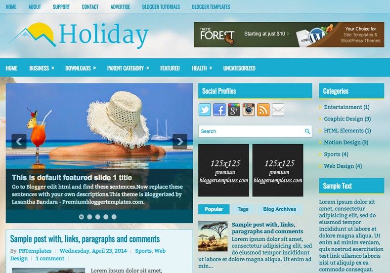 Holiday Blue Blogger Template. Blogger Themes. Free Blogspot templates for your blogger blog. Best suitable for news blog templates. Ads ready blogspot templates help for add adsense ad code and easily showing adsence ads in your blog. Adapted from WordPress templates are converted from WordPress themes. It is help for take your rich. Blogger magazine template specially designed for magazine blogs. The writers can utilize this themes for take blog attractive to users. Elegant themes are more used themes in most of the blogs. Minimalist blog templates. Free premium blogger themes means, themes authors release two types of themes. One is premium another one is free. Premium templates given for cost but free themes given for no cost. You no need pay From California, USA. $10 USD, or $20 USD and more. But premium buyers get more facilities from authors But free buyers. If you run game or other animation oriented blogs, and you can try with Anime blog templates. Today the world is fashion world. So girls involve to the criteria for make their life fashionable. So we provide fashion blogger themes for make your fashionable. News is most important concept of the world. Download news blogger templates for publishing online news. You can make your blog as online shopping store. Get Online shopping store blogger template to sell your product. Navigation is most important to users find correct place. Download drop down menu, page navigation menu, breadcrumb navigation menu and vertical dropdown menu blogspot themes for free. Google Guide. Blogging tips and Tricks for bloggers. Google bloggers can get blogspot trick and tips for bloggers. Blog templates portfolio professional blogspot themes, You can store your life moments with your blogs with personal pages templates. Video and movie blogs owners get amazing movie blog themes for their blogs. Business templates download. We publish blogger themes for photographers. Photographers easily share photos via photography blog themes. St valentine Christmas Halloween templates. Download Slideshow slider templates for free. Under construction coming soon custom blogspot template. Best beautiful high quality Custom layouts Blog templates from templateism, SoraTemplates, templatetrackers, simple, cute free premium professional unique designs blog themes blogspot themes. Seo ready portfolio anime fashion movie movies health custom layouts best download blogspot themes simple cute free premium professional unique designs xml html code html5.