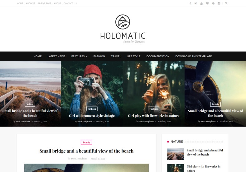 Holomatic Blogger Template. Blogger template for photographers, online magazine blogs, fashion and girls blogs. Stunning design blogger template for renovating blogger blog. Holomatic Blogger Template