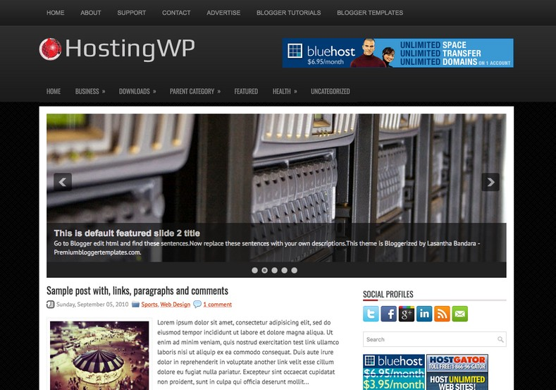 HostingWP Blogger Template. Blogger Themes. Free Blogspot templates for your blogger blog. Best suitable for news blog templates. Best Ads ready blogspot templates help for add adsense ad code and easily showing adsence ads in your blog. Adapted from WordPress templates are converted from WordPress themes. It is help for take your rich. Blogger magazine template specially designed for magazine blogs. The writers can utilize this themes for take blog attractive to users. Elegant themes are more used themes in most of the blogs. Use minimalist blog templates for rich look for your blog. Free premium blogger themes means, themes authors release two types of themes. One is premium another one is free. Premium templates given for cost but free themes given for no cost. You no need pay From California, USA. $10 USD, or $20 USD and more. But premium buyers get more facilities from authors But free buyers. If you run game or other animation oriented blogs, and you can try with Anime blog templates. Today the world is fashion world. So girls involve to the criteria for make their life fashionable. So we provide fashion blogger themes for make your fashionable. News is most important concept of the world. Download news blogger templates for publishing online news. You can make your blog as online shopping store. Get Online shopping store blogger template to sell your product. Navigation is most important to users find correct place. Download drop down menu, page navigation menu, breadcrumb navigation menu and vertical dropdown menu blogspot themes for free. Google Guide to blogging tips and tricks for bloggers. Google bloggers can get blogspot trick and tips for bloggers. Blog templates portfolio professional blogspot themes, You can store your life moments with your blogs with personal pages templates. Video and movie blogs owners get amazing movie blog themes for their blogs.  Business templates download. We publish blogger themes for photographers.  Photographers easily share photos via photography blog themes. St valentine Christmas Halloween templates. Download Slideshow slider templates for free.  Under construction coming soon custom blogspot template. Best beautiful high quality Custom layouts Blog templates from templateism, soratemplates, templatetrackers, simple, cute free premium professional unique designs blog themes blogspot themes. Seo ready portfolio anime fashion movie movies health custom layouts best download blogspot themes simple cute free premium professional unique designs xml html code html5.
