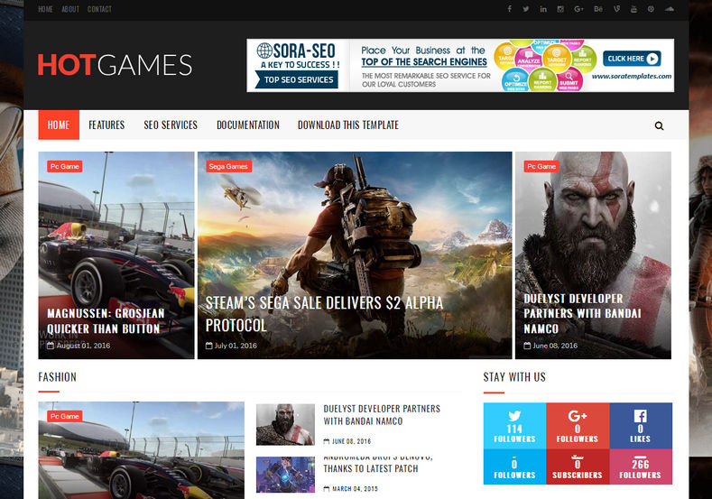 Hot Games Gaming Blogger Template is a perfectly responsive and fast loading blogspot theme for online gaming, store and simple magazine websites