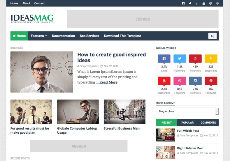 Ideas Mag Blogger Template. Best magazine blogger template free download for blogger blogspot users. Free magazine adse ready blogger themes. Ideas Mag Blogger Template.