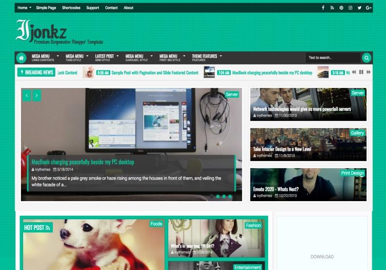 Ijonkz Blogger Template. 2015 premium blogspot templates