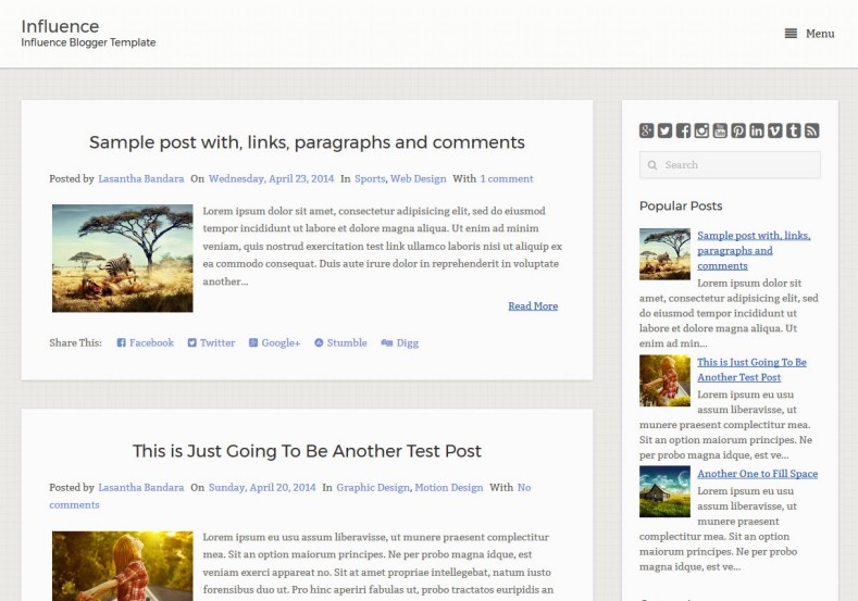 Influence Blogger Template
