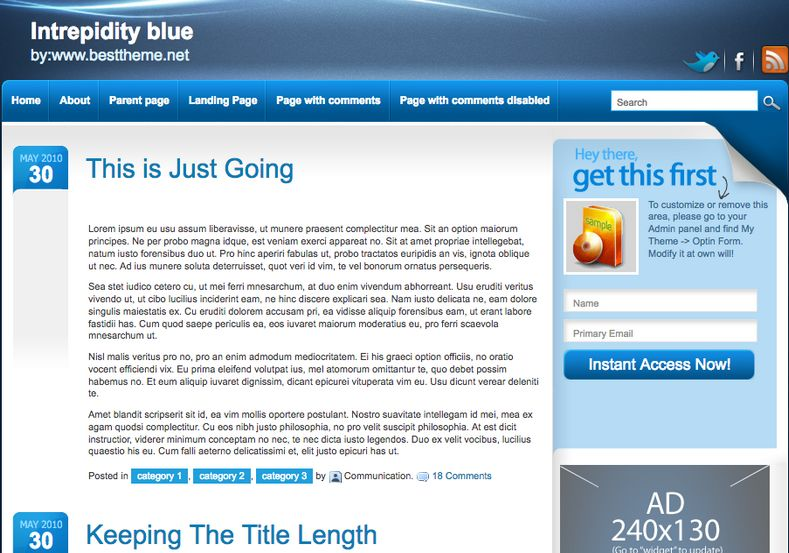 Intrepidity Blue Blogger Template