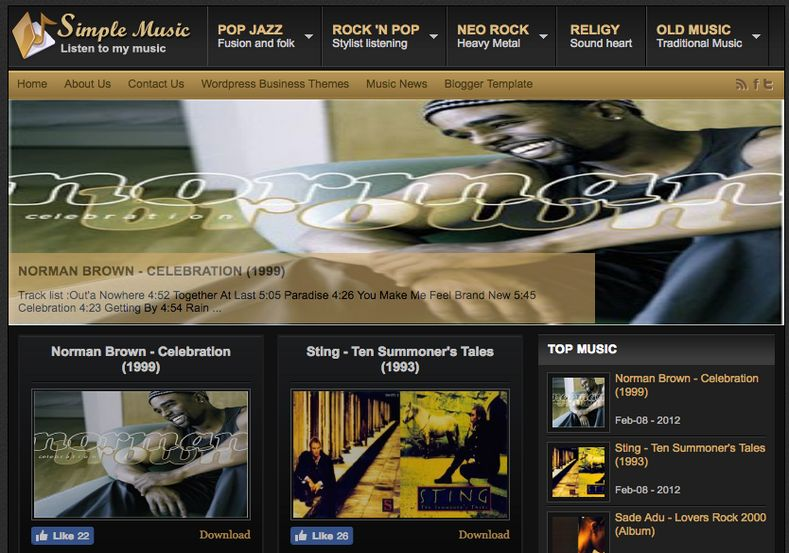 Johny Simple Music Blogger Template