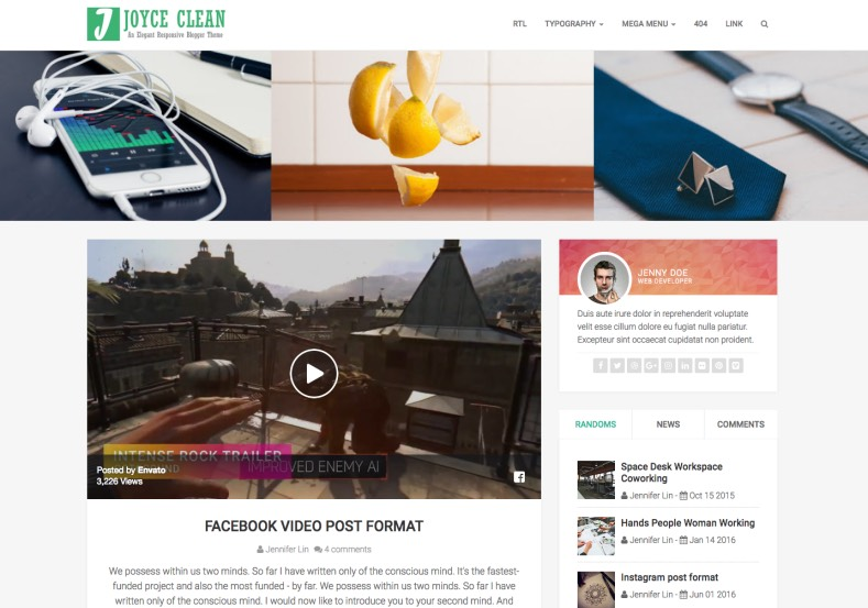 Joyce Blogger Template. Simple and high quality premium template for building magazine and tech blogs, Buy and download premium themes form gooyaabi and themeforest. Joyce Blogger Template.