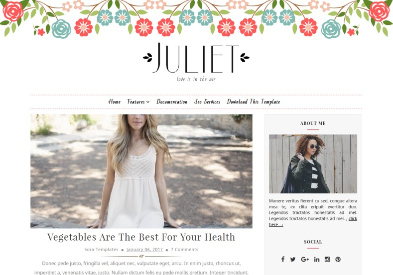 Juliet Blogger Template 2017 for girls and feminism blogger blogs. Get amazing look than your old blogger look. Upgrade the blogger design into old. Download Juliet Blogger Template.