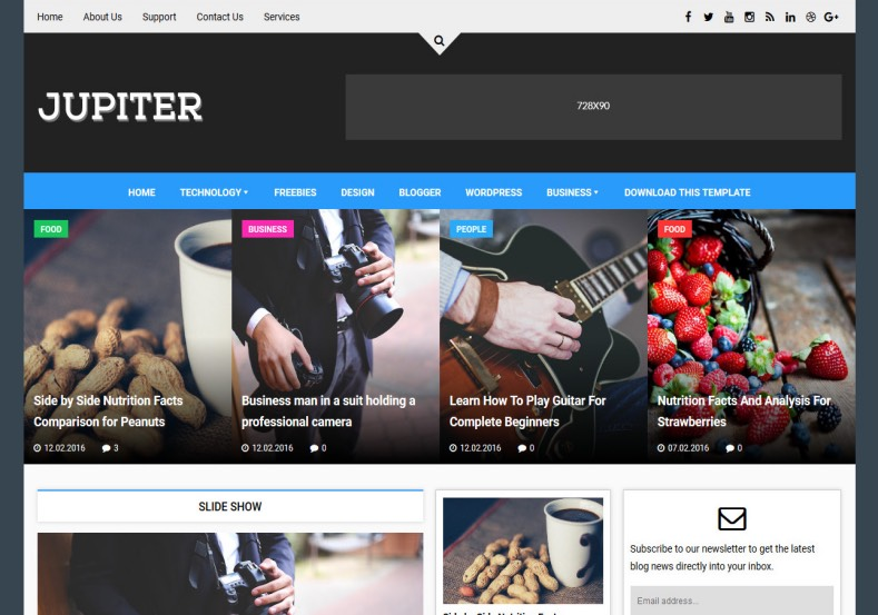 Jupiter Blogger Template. Blogger template with mega menu option its best to magazine and tech blogs. Free blogger templates download Jupiter Blogger Template.