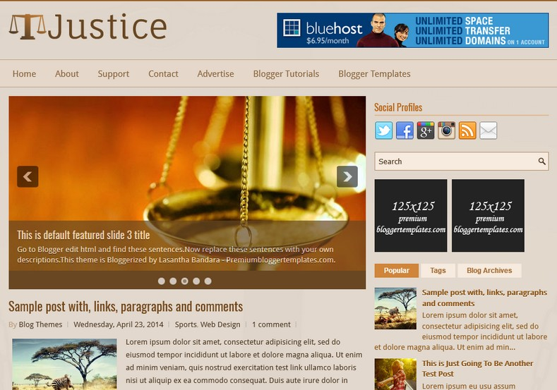 Justice Brown Blogger Template. Blogger Themes. Free Blogspot templates for your blogger blog. Best suitable for news blog templates. Ads ready blogspot templates help for add adsense ad code and easily showing adsence ads in your blog. Adapted from WordPress templates are converted from WordPress themes. It is help for take your rich. Blogger magazine template specially designed for magazine blogs. The writers can utilize this themes for take blog attractive to users. Elegant themes are more used themes in most of the blogs. Minimalist blog templates. Free premium blogger themes means, themes authors release two types of themes. One is premium another one is free. Premium templates given for cost but free themes given for no cost. You no need pay From California, USA. $10 USD, or $20 USD and more. But premium buyers get more facilities from authors But free buyers. If you run game or other animation oriented blogs, and you can try with Anime blog templates. Today the world is fashion world. So girls involve to the criteria for make their life fashionable. So we provide fashion blogger themes for make your fashionable. News is most important concept of the world. Download news blogger templates for publishing online news. You can make your blog as online shopping store. Get Online shopping store blogger template to sell your product. Navigation is most important to users find correct place. Download drop down menu, page navigation menu, breadcrumb navigation menu and vertical dropdown menu blogspot themes for free. Google Guide. Blogging tips and Tricks for bloggers. Google bloggers can get blogspot trick and tips for bloggers. Blog templates portfolio professional blogspot themes, You can store your life moments with your blogs with personal pages templates. Video and movie blogs owners get amazing movie blog themes for their blogs. Business templates download. We publish blogger themes for photographers. Photographers easily share photos via photography blog themes. St valentine Christmas Halloween templates. Download Slideshow slider templates for free. Under construction coming soon custom blogspot template. Best beautiful high quality Custom layouts Blog templates from templateism, soratemplates, templatetrackers, simple, cute free premium professional unique designs blog themes blogspot themes. Seo ready portfolio anime fashion movie movies health custom layouts best download blogspot themes simple cute free premium professional unique designs xml html code html5.
