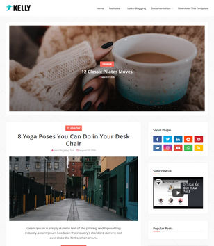 Kelly Blogger Template • Blogspot Templates 2020