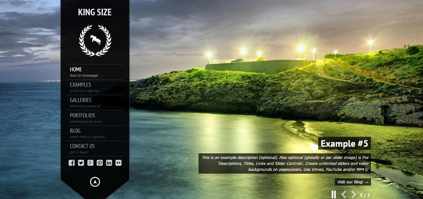 KingSize WordPress Theme. A responsive fullscreen photography template