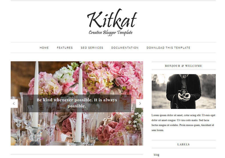 KitKat Minimalist Blogger Template is a multipurpose responsive and fast loading blogspot theme with many attractive seo friendly features and perfect for fashion and travel blog