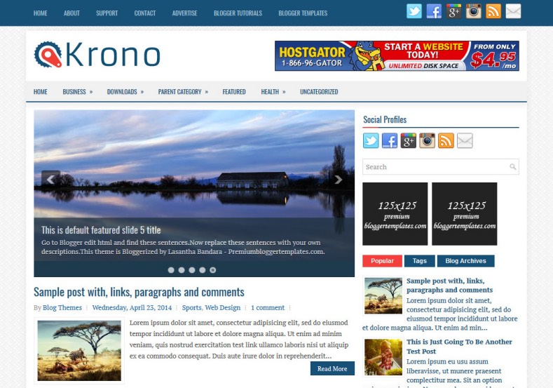 Krono Blogger Template. Blogger Themes. Best suitable for news blog templates. Ads ready blogspot templates help for add adsense ad code and easily showing adsence ads in your blog. Adapted from WordPress templates are converted from WordPress themes. It is help for take your rich. Blogger magazine template specially designed for magazine blogs. The writers can utilize this themes for take blog attractive to users. Elegant themes are more used themes in most of the blogs. Minimalist blog templates. Free premium blogger themes means, themes authors release two types of themes. One is premium another one is free. Premium templates given for cost but free themes given for no cost. You no need pay From California, USA. $10 USD, or $20 USD and more. But premium buyers get more facilities from authors But free buyers. If you run game or other animation oriented blogs, and you can try with Anime blog templates. Today the world is fashion world. So girls involve to the criteria for make their life fashionable. So we provide fashion blogger themes for make your fashionable. News is most important concept of the world. Download news blogger templates for publishing online news. You can make your blog as online shopping store. Get Online shopping store blogger template to sell your product. Navigation is most important to users find correct place. Download drop down menu, page navigation menu, breadcrumb navigation menu and vertical dropdown menu blogspot themes for free. Google Guide. Blogging tips and Tricks for bloggers. Google bloggers can get blogspot trick and tips for bloggers. Blog templates portfolio professional blogspot themes, You can store your life moments with your blogs with personal pages templates. Video and movie blogs owners get amazing movie blog themes for their blogs. Business templates download. We publish blogger themes for photographers. Photographers easily share photos via photography blog themes. St valentine Christmas Halloween templates. Download Slideshow slider templates for free. Under construction coming soon custom blogspot template. Best beautiful high quality Custom layouts Blog templates from templateism, SoraTemplates, templatetrackers, simple, cute free premium professional unique designs blog themes blogspot themes. Seo ready portfolio anime fashion movie movies health custom layouts best download blogspot themes simple cute free premium professional unique designs xml html code html5.