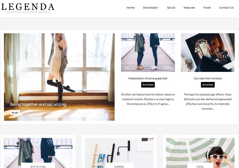 Legenda Fashion Blogger Template 2018 with best quality template for women and girl Legenda Fashion Blogger Template