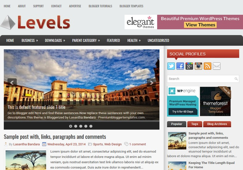 Levels Responsive Blogger Template. Blogger Themes. Free Blogspot templates for your blogger blog. Best suitable for news blog templates. Ads ready blogspot templates help for add adsense ad code and easily showing adsence ads in your blog. Adapted from WordPress templates are converted from WordPress themes. It is help for take your rich. Blogger magazine template specially designed for magazine blogs. The writers can utilize this themes for take blog attractive to users. Elegant themes are more used themes in most of the blogs. Use minimalist blog templates for rich look for your blog. Free premium blogger themes means, themes authors release two types of themes. One is premium another one is free. Premium templates given for cost but free themes given for no cost. You no need pay From California, USA. $10 USD, or $20 USD and more. But premium buyers get more facilities from authors But free buyers. If you run game or other animation oriented blogs, and you can try with Anime blog templates. Today the world is fashion world. So girls involve to the criteria for make their life fashionable. So we provide fashion blogger themes for make your fashionable. News is most important concept of the world. Download news blogger templates for publishing online news. You can make your blog as online shopping store. Get Online shopping store blogger template to sell your product. Navigation is most important to users find correct place. Download drop down menu, page navigation menu, breadcrumb navigation menu and vertical dropdown menu blogspot themes for free. Google Guide to blogging tips and tricks for bloggers. Google bloggers can get blogspot trick and tips for bloggers. Blog templates portfolio professional blogspot themes, You can store your life moments with your blogs with personal pages templates. Video and movie blogs owners get amazing movie blog themes for their blogs. Business templates download. We publish blogger themes for photographers. Photographers easily share photos via photography blog themes. St valentine Christmas Halloween templates. Download Slideshow slider templates for free. Under construction coming soon custom blogspot template. Best beautiful high quality Custom layouts Blog templates from templateism, SoraTemplates, templatetrackers, simple, cute free premium professional unique designs blog themes blogspot themes. Seo ready portfolio anime fashion movie movies health custom layouts best download blogspot themes simple cute free premium professional unique designs xml html code html5.