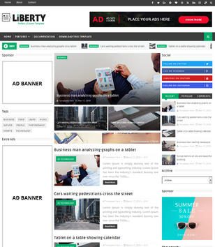 Liberty 3 Column Blogger Templates