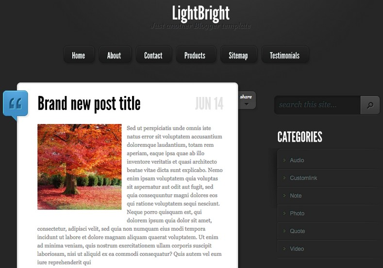 LightBright Blogger Template