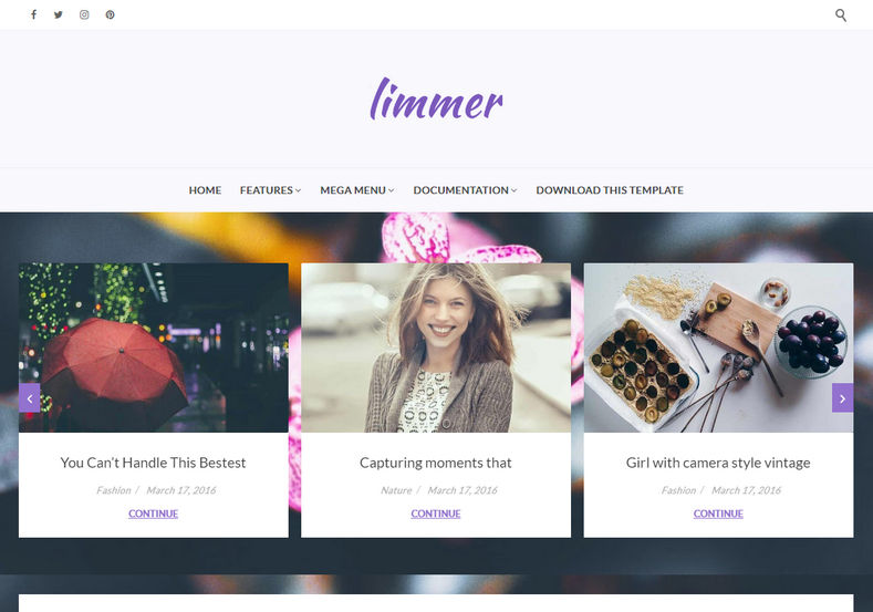 Limmer Blogger Template is a clean and elegant looking blogspot theme with hand crafted hero header that has attractive styling carousel.