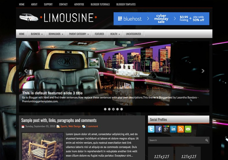 Limousine Dark Blogger Template. Blogger Themes. Free Blogspot templates for your blogger blog. Best suitable for news blog templates. Ads ready blogspot templates help for add adsense ad code and easily showing adsence ads in your blog. Adapted from WordPress templates are converted from WordPress themes. It is help for take your rich. Blogger magazine template specially designed for magazine blogs. The writers can utilize this themes for take blog attractive to users. Elegant themes are more used themes in most of the blogs. Use minimalist blog templates for rich look for your blog. Free premium blogger themes means, themes authors release two types of themes. One is premium another one is free. Premium templates given for cost but free themes given for no cost. You no need pay From California, USA. $10 USD, or $20 USD and more. But premium buyers get more facilities from authors But free buyers. If you run game or other animation oriented blogs, and you can try with Anime blog templates. Today the world is fashion world. So girls involve to the criteria for make their life fashionable. So we provide fashion blogger themes for make your fashionable. News is most important concept of the world. Download news blogger templates for publishing online news. You can make your blog as online shopping store. Get Online shopping store blogger template to sell your product. Navigation is most important to users find correct place. Download drop down menu, page navigation menu, breadcrumb navigation menu and vertical dropdown menu blogspot themes for free. Google Guide to blogging tips and tricks for bloggers. Google bloggers can get blogspot trick and tips for bloggers. Blog templates portfolio professional blogspot themes, You can store your life moments with your blogs with personal pages templates. Video and movie blogs owners get amazing movie blog themes for their blogs. Business templates download. We publish blogger themes for photographers. Photographers easily share photos via photography blog themes. St valentine Christmas Halloween templates. Download Slideshow slider templates for free. Under construction coming soon custom blogspot template. Best beautiful high quality Custom layouts Blog templates from templateism, SoraTemplates, templatetrackers, simple, cute free premium professional unique designs blog themes blogspot themes. Seo ready portfolio anime fashion movie movies health custom layouts best download blogspot themes simple cute free premium professional unique designs xml html code html5.