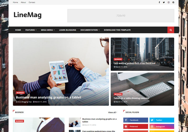 Linemag Blogger Template is a feature rich elegant premium latest blogspot theme with various layout options and widgets with awesome design and fast loading speed loading time
